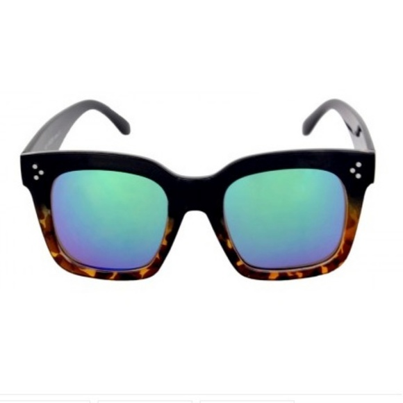 Kiss Other - LARGE SQ Black Tort Frame BLUE TURQmirror leNS NEW